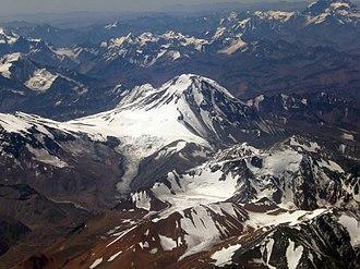 Tupungato - Aerial view of Tupungato volcano from Argentina.