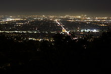 The street lights and homes of San Fernando Valley lit up at night