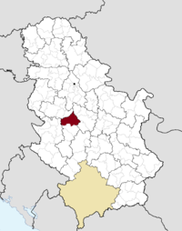 Location of the municipality of Gornji Milanovac within Serbia