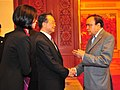 Murli Deora meeting the Chinese Premier, Mr. Wen Jiabao during the Shanghai Cooperation Organisation's Head of Government (SCO HOG) Meeting, at Beijing on October 14, 2009.jpg