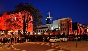 Long Night of Museums - Night visitors queuing at the Warsaw Uprising Museum (2013)