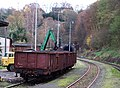 Nádraží Sychrov, vagóny s uhlím a tunel.jpg
