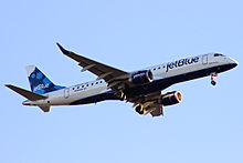 A JetBlue Embraer 190 landing in Worcester, MA.