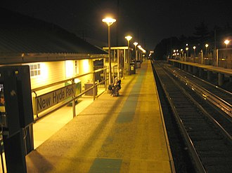 New Hyde Park station - Image: NHP LIRR night jeh