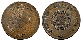 Chain cent - 1793 Flowing Hair Cent (chain)