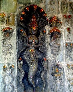 Snake worship - The altar where Jory Goddess is worshipped. The photo is taken at the main temple in Belur Karnataka, India