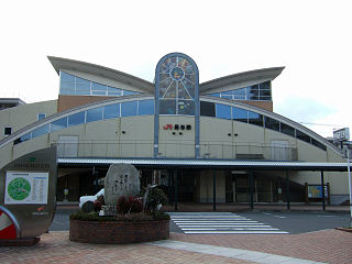 railway station in Nagayo, Nishisonogi district, Nagasaki Prefecture, Japan