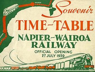 Palmerston North–Gisborne Line - Napier-Wairoa Souvenir Timetable 1939