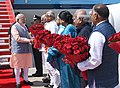 Narendra Modi being welcomed by the Governor of Haryana, Prof. Kaptan Singh Solanki, the Governor of Punjab and Administrator of U.T. Chandigarh, Shri. V.P. Singh Badnore and the Chief Minister of Haryana.jpg