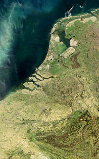 Low Countries historical coastal landscape in north western Europe