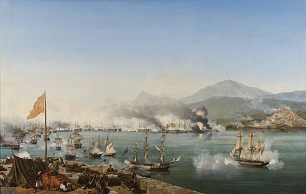 The Battle of Navarino in 1827 secured Greek independence. Naval Battle of Navarino by Garneray.jpg