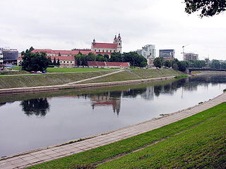 The river Neris at Vilnius city. Photo:Algirdas at lt.wikipedia