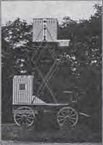 Pigeon photography - Neubronner's mobile dovecote and darkroom as shown at 1909 exhibitions