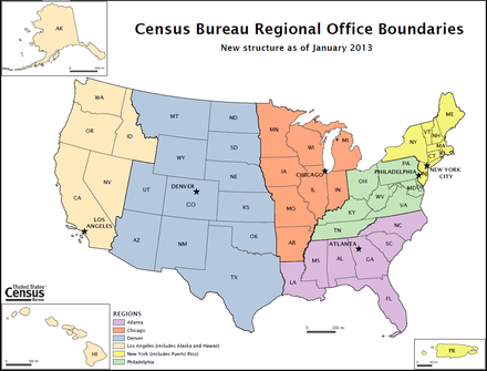 U.S. Census Bureau Regional Office Boundaries