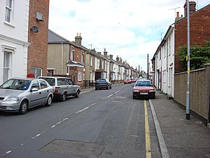 Battle of Brightlingsea - New Street, Brightlingsea. The compact nature of the route to the wharf through the small town was ideal for protestors.