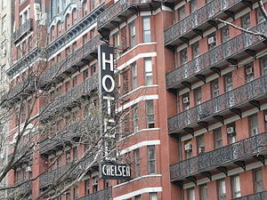 Hotel Chelsea - A close-up of the hotel's signage