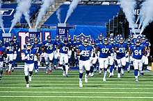 The Giants take the field against the Washington Football Team in 2020