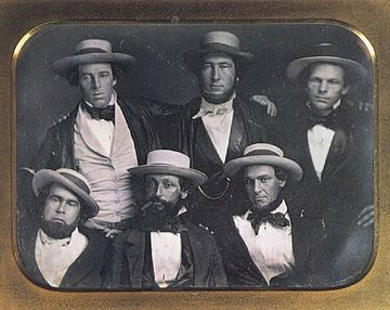 The New York Knickerbockers Baseball Club, circa 1847. Cartwright at the top middle. The identification of Cartwright has been disputed. New York Knickerbockers Baseball Club, circa 1847.jpg
