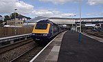 A First Great Western HST service tailed by 43187 departs Newport railway station with a service to London.