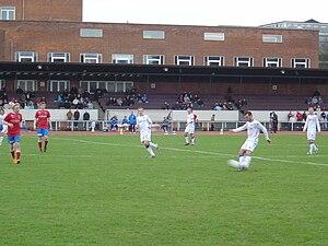 Shooting (association football) - Niclas Jensen shoots for goal in a match for F.C. Copenhagen against FC Vestsjælland.