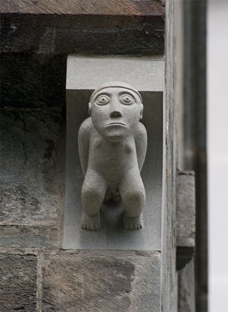 Sheela na gig - Exhibitionist carving in Romanesque style, Nidaros Cathedral, Trondheim, Norway (a modern replacement; original is in the Archbishop's Palace Museum, Trondheim)