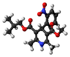 Ball-and-stick model of the nisoldipine molecule
