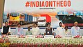 Nitin Gadkari, the Union Minister for Railways, Shri Suresh Prabhakar Prabhu, the Union Minister for Civil Aviation, Shri Ashok Gajapathi Raju Pusapati, the Union Minister for Consumer Affairs, Food and Public Distribution.jpg