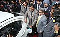 Nitin Gadkari inaugurating the Two Electric Vehicle charging points (fast and slow charging), at NITI Aayog premises, in New Delhi.jpg