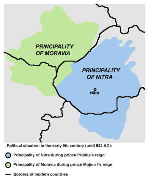 Principality of Nitra - A map presenting the theory of the co-existence of two principalities (Moravia and Nitra) before the 830s