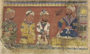 Nizamuddin Auliya - Nizamuddin Auliya with three attendants, Folio from a Khamsa (Quintet) by Amir Khusraw Dihlavi – ca. 1450