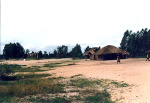 Traditional mud and thatch houses on the beach of Lake Malawi in Nkhotakota