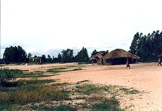 Nkhotakota - Traditional mud and thatch houses on the beach of Lake Malawi in Nkhotakota