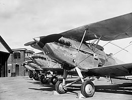 Lineup of military biplanes at an airfield