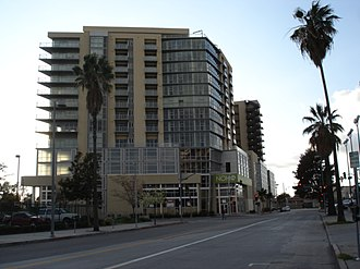 NoHo Arts District, Los Angeles - New condominium buildings along a North Hollywood street