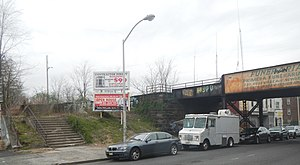 New York and Greenwood Lake Railway (1878–1943) - Image: North Newark sta NY&GW Broadway steps cloudy jeh