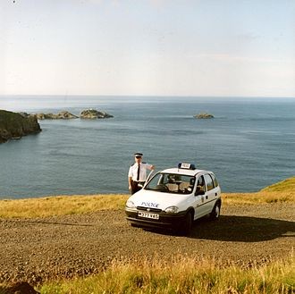 Northern Constabulary - Northern Constabulary officer on the northern tip of Unst on the Shetland Islands, 1995