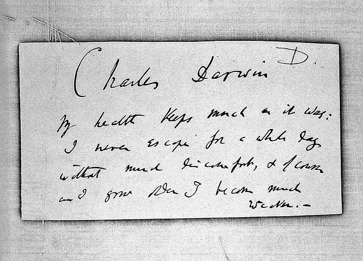 Note, by Darwin Wellcome L0003802.jpg