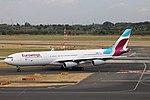 OO-SCX Airbus A340-300 Eurowings opb Brussels Airlines DUS 2018-07-31 (28a) (44116364591).jpg