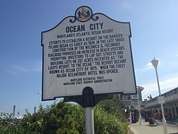 An Ocean City historical marker in August 2013. It tells a brief history of the town. Ocean City MD historical marker.jpeg