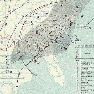 1894 Atlantic hurricane season - Image: October 9, 1894 hurricane 5 map