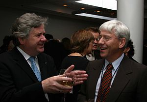 Davíð Oddsson - Davíð Oddsson with Professor Ragnar Árnason, a leading free market economist in Iceland, at a Mont Pelerin Society meeting in Iceland 20 August 2005