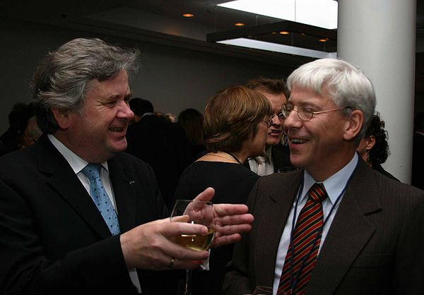 David Oddsson with Professor Ragnar Arnason, a leading free market economist in Iceland, at a Mont Pelerin Society meeting in Iceland 20 August 2005 Oddsson and Arnason.jpg