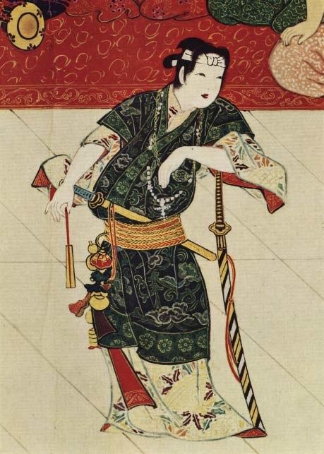 Okuni with cross dressed as a samurai