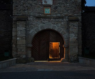 Moldovița Monastery - Front gate of the Moldovița Monastery photographed by Oliver Mark, collection of the Bukovina Museum, 2018