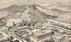 Tegning af antikvitetens Olympia, ud af Pierers Universal-Lexikon (1891).