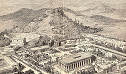 Artist's impression of ancient Olympia