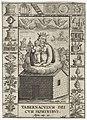 Onze Lieve Vrouw van Loreto, te midden van symbolen uit de Lauretaanse Litanie Tabernacvlvm dei cvm hominibvs (titel op object), RP-P-1904-1242.jpg