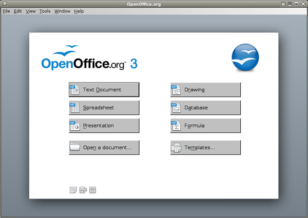 OpenOffice.org 3.2 en start center in Sidux.png