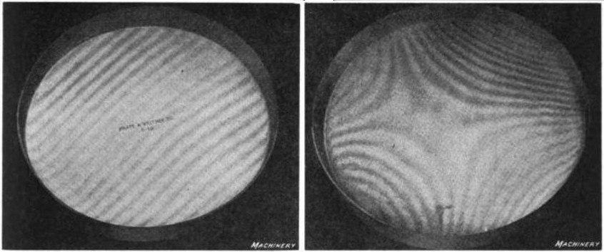 Optical flat interference fringes