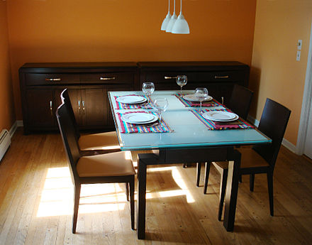 Example of a modern-day dining room from the United States.